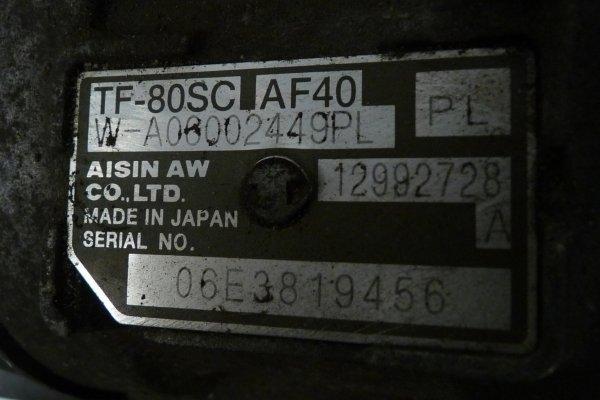 Skrzynia biegów TF-80SC AF-40 Opel Zafira B 2006 1.9CDTI (Automatyczna)