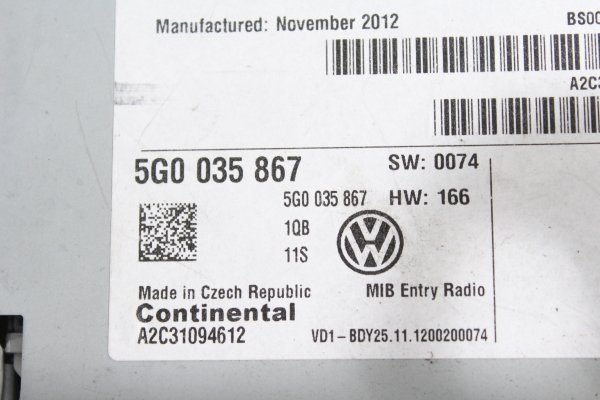 Radio VW Golf VII 2012