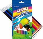 KREDKI Ścieralne Z GUMKĄ 12 kolorów BAMBINO