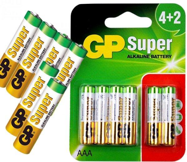 GP SUPER Baterie Alkaliczne LR03 AAA 6 Sztuk