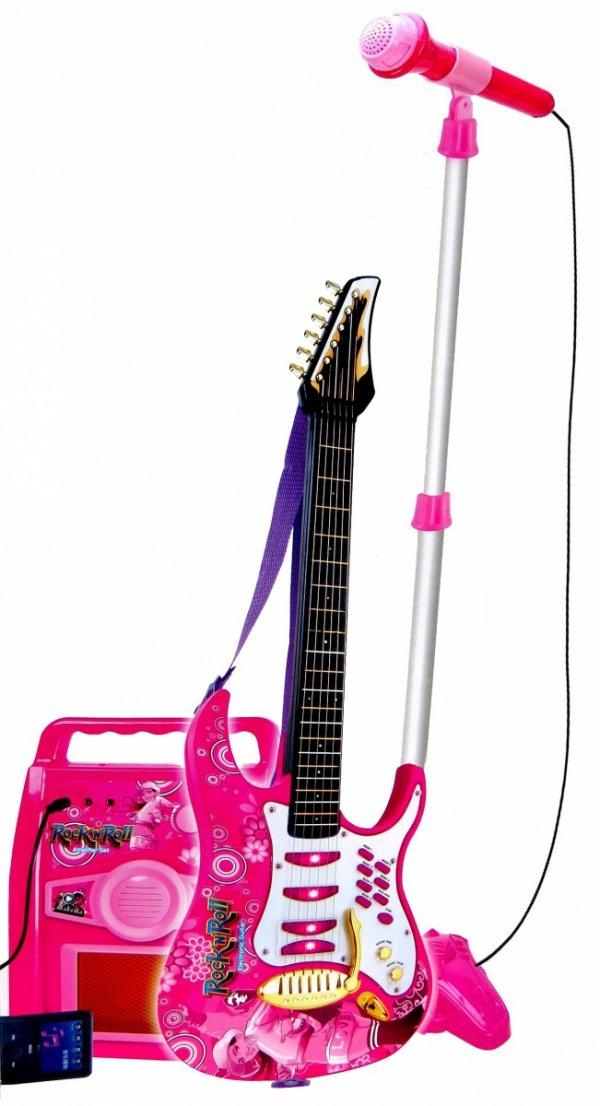 GITARA Elektryczna WZMACNIACZ Mikrofon na Statywie Róż