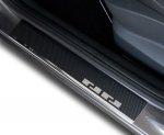 VW TOUAREG II od 2010 Nakładki progowe - stal + folia karbonowa [ 4szt ]