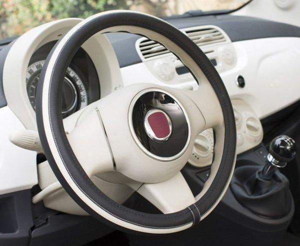 Nakładka skórzana na kierownicę Elegance Blanc