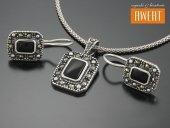 RELISH srebrny komplet opal i markazyty