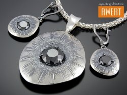 DOMINA srebrny komplet z dużymi cyrkoniami
