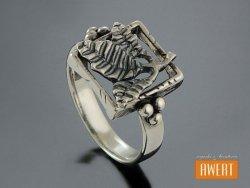 GRAPE srebrny pierścionek liście oksyda roz.17