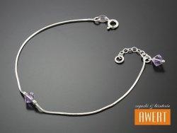 BICONE VIOLA srebrna bransoletka kryształy Swarovski 20,5 cm