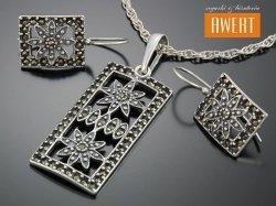 GEDI MARCASITE srebrny komplet biżuterii z markazytami
