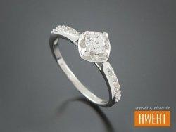 CAICO CRYSTAL srebrny pierścionek z cyrkoniami roz. 15