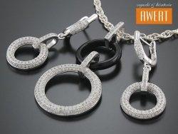 MAGIC INGA srebrny komplet biżuterii z ceramiką i cyrkoniami