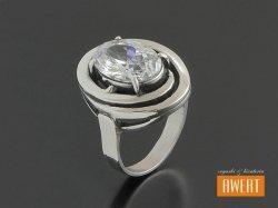 AISZA CRYSTAL srebrny pierścień z cyrkonią roz.13