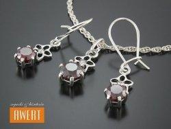 KALIMA RED srebrny komplet biżuterii z cyrkoniami