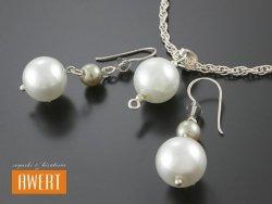 BANKS PEARL srebrny komplet biżuterii z perłami ikryształami Swarovski