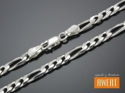 FIGARO łańcuch srebrny diamentowany 50 cm / 4,2 mm