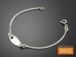 HEART srebrna bransoletka 15,5 cm