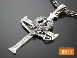 Krzyżyk srebrny Orzeł w koronie duży