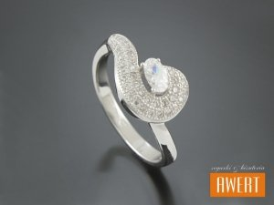 CAGDA CRYSTAL srebrny pierścionek z cyrkoniami roz. 10