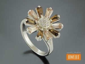 CYNTHIA CRYSTAL srebrny pierścionek z cyrkoniami roz.20