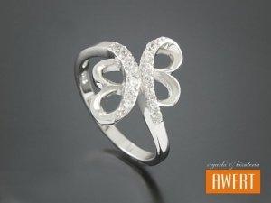 BASS CRYSTAL srebrny pierścionek z cyrkoniami roz. 11