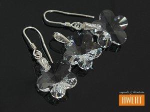 FLOWER CRYSTAL I srebrny komplet z kryształami SWAROVSKI