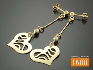 HEARTS GOLD kolczyki srebrne pozłacane