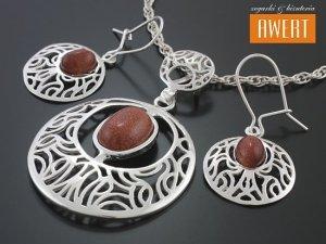MAIO SAND srebrny komplet biżuterii z kamieniami