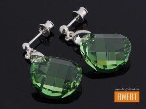 TWIST PERIDOT II srebrne kolczyki z kryształami SWAROVSKI