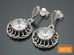 FLORA CRYSTAL srebrne kolczyki z cyrkoniami