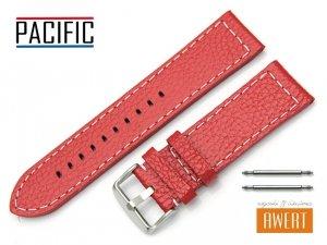 PACIFIC 24 mm pasek skórzany W45 czerwony