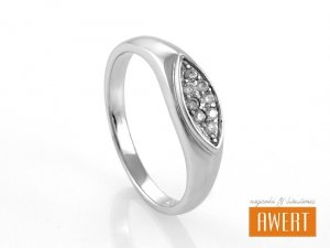 CHIE CRYSTAL srebrny pierścionek z cyrkoniami roz.18