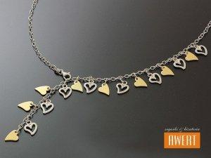 HEARTS uroczy srebrny naszyjnik złocenie