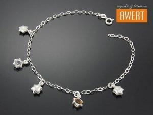 STARS srebrna bransoletka na nogę kryształy Swarovski 26 cm
