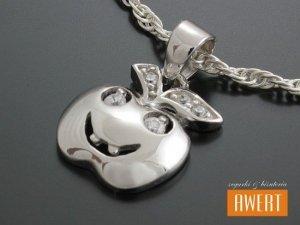 APPLE SMILING srebrna zawieszka wisiorek z cyrkoniami