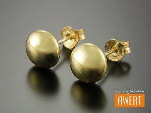 BUTTON GOLD kolczyki srebrne 9 mm