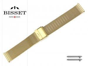 BISSET 20 mm bransoleta stalowa mesh BM101 złota