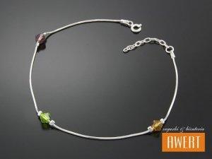 GALLA srebrna bransoletka na nogę kryształy Swarovski 27 cm