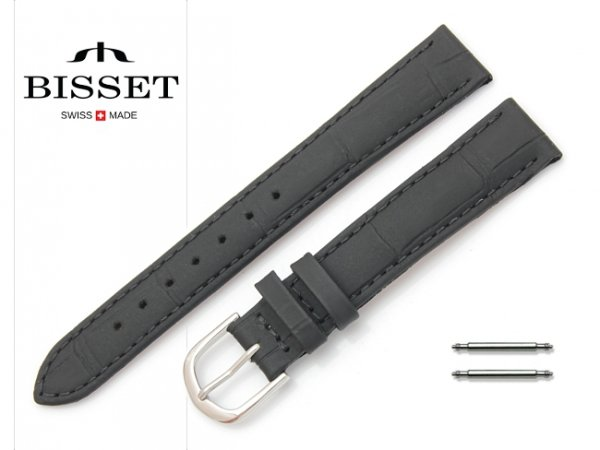 Pasek skórzany do zegarka 16 mm BISSET BS111 czarny