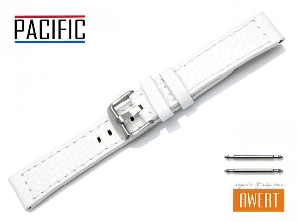 PACIFIC pasek skórzany do zegarka W45 biały