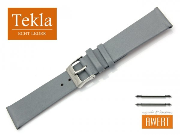 Pasek do zegarka TEKLA PT26 skórzany 20 mm szary