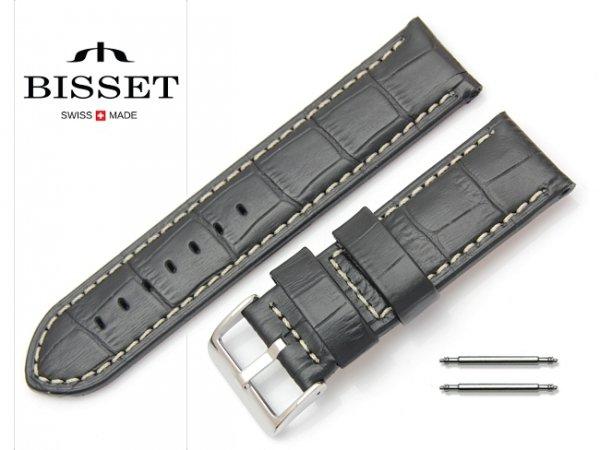 Pasek skórzany do zegarka 24 mm BISSET BS164 białe szycie