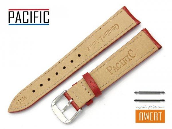 PACIFIC W114 pasek skórzany 18 mm czerwony
