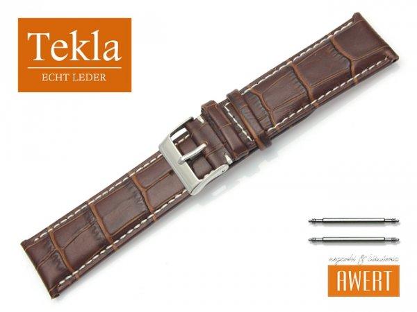 Pasek skórzany do zegarka 24 mm TEKLA PT41 białe szycie