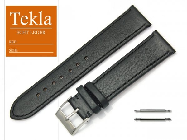 Pasek do zegarka skórzany 20 mm TEKLA PT69 czarny