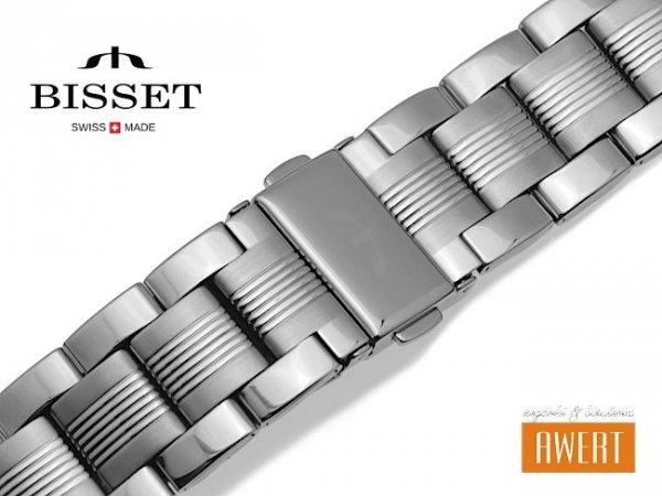 BISSET 20 mm bransoleta stalowa BR109 srebrna