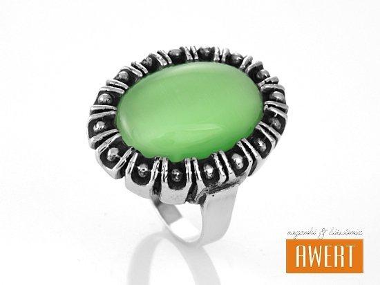 SCARLETT VERDE srebrny pierścionek z kamieniem roz.14