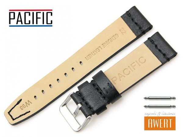 PACIFIC 22 mm pasek skórzany W98 czarny W98-1S-22