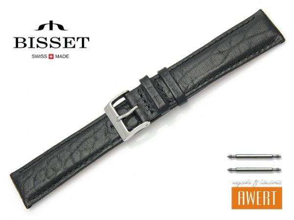 Pasek skórzany do zegarka 20 mm BISSET BS104 czarny