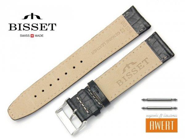 Pasek skórzany do zegarka 22 mm BISSET BS104 czarny