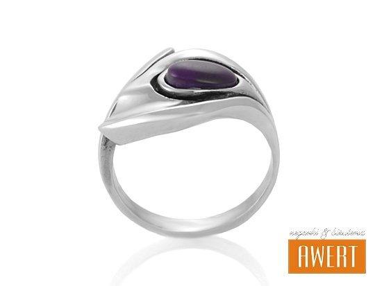 AGNES VIOLA srebrny pierścionek z kamieniem roz.15