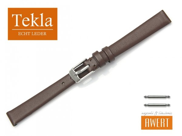 Pasek skórzany do zegarka 10 mm TEKLA PT17 brązowy